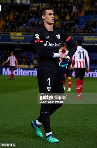 Kepa Arrizabalaga of Athletic Club looks on prior to the La Liga match between Villarreal and Athletic Club at Estadio de La Ceramica on April 9 2018...