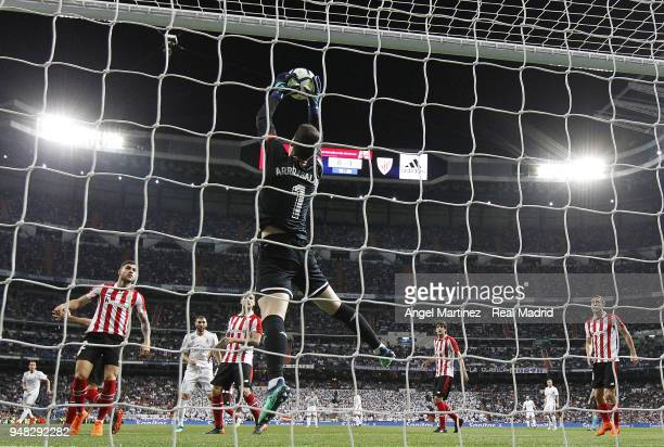 Kepa Arrizabalaga of Athletic Club makes a save during the La Liga match between Real Madrid and Athletic Club at Estadio Santiago Bernabeu on April...