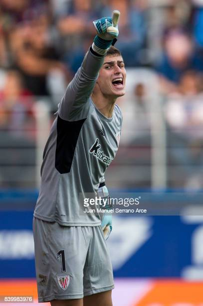 Kepa Arrizabalaga of Athletic Club reacts during the La Liga match between Eibar and Athletic Club Bilbao at Estadio Municipal de Ipurua on August 27...