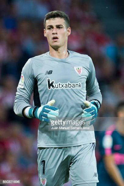 Kepa Arrizabalaga of Athletic Club reacts during the La Liga match between Athletic Club Bilbao and Atletico Madrid at San Mames Stadium on September...