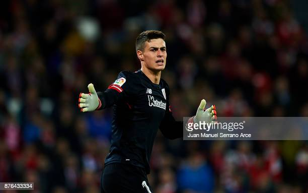Kepa Arrizabalaga of Athletic Club reacts during the La Liga match between Athletic Club Bilbao and Villarreal CF at San Mames Stadium on November 19...