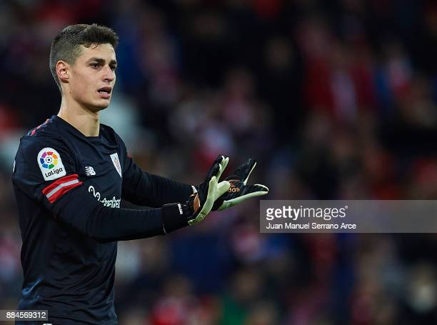 Kepa Arrizabalaga of Athletic Club reacts during the La Liga match between Athletic Club and Real Madrid at Estadio de San Mames on December 2 2017...