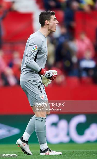 Kepa Arrizabalaga of Athletic Club reacts during the La Liga match between Sevilla CF and Athletic Club at Estadio Ramon Sanchez Pizjuan on March 3...