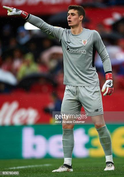 Kepa Arrizabalaga of Athletic Club reacts during the La Liga match between Sevilla and Athletic Club at Estadio Ramon Sanchez Pizjuan on March 3 2018...