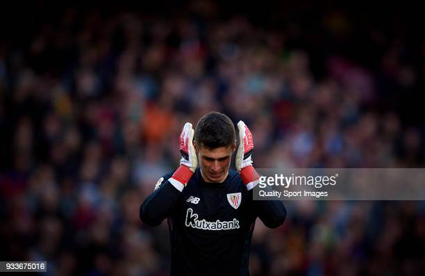 Kepa Arrizabalaga of Athletic Club reacts during the La Liga match between Barcelona and Athletic Club at Camp Nou on March 18 2018 in Barcelona Spain