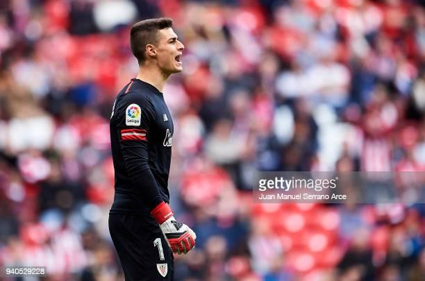 Kepa Arrizabalaga of Athletic Club reacts during the La Liga match between Athletic Club Bilbao and RC Celta de Vigo at San Mames Stadium on March 31...