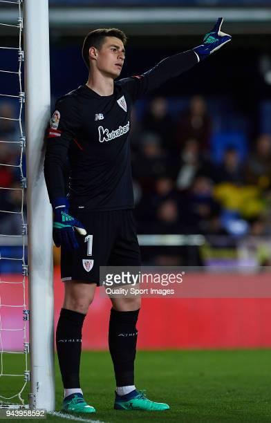 Kepa Arrizabalaga of Athletic Club reacts during the La Liga match between Villarreal and Athletic Club at Estadio de La Ceramica on April 9 2018 in...