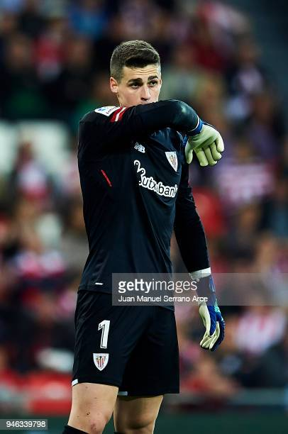 Kepa Arrizabalaga of Athletic Club reacts during the La Liga match between Athletic Club Bilbao and RC Deportivo La Coruna at San Mames Stadium on...