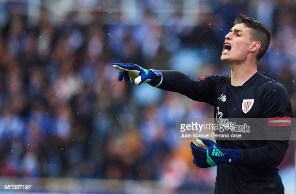 Kepa Arrizabalaga of Athletic Club reacts during the La Liga match between Real Sociedad and Athletic Club at Estadio de Anoeta on April 28 2018 in...