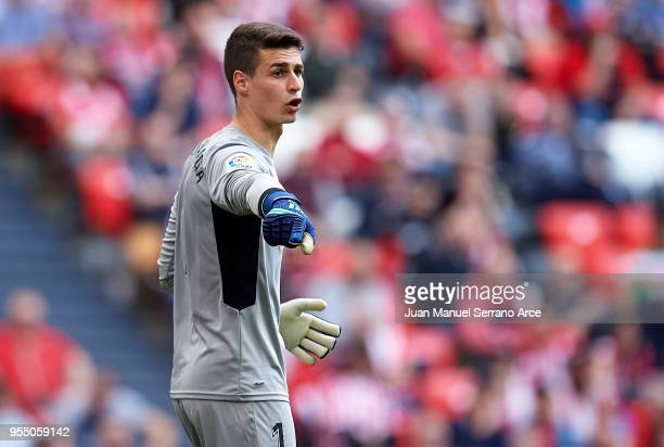 Kepa Arrizabalaga of Athletic Club reacts during the La Liga match between Athletic Club Bilbao and Real Betis Balompie at San Mames Stadium on May 5...