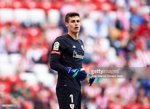 Kepa Arrizabalaga of Athletic Club reacts during the La Liga match between Athletic Club and RCD Espanyol at San Mames Stadium on May 20 2018 in...