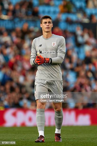 Kepa Arrizabalaga of Athletic de Bilbao looks on during the La Liga match between Celta de Vigo and Athletic Club at Balaidos Stadium on November 5...