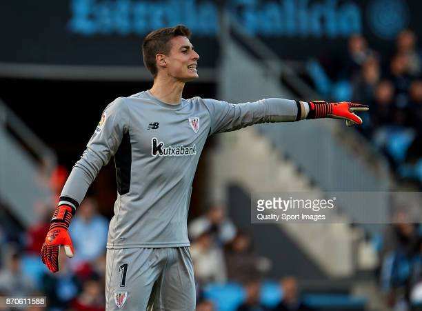 Kepa Arrizabalaga of Athletic de Bilbao reacts during the La Liga match between Celta de Vigo and Athletic Club at Balaidos Stadium on November 5...