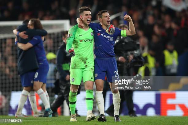 Kepa Arrizabalaga of Chelsea and Cesar Azpilicueta of Chelsea celebrate at full time of the UEFA Europa League Semi Final Second Leg match between...