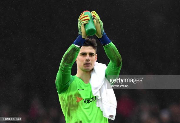 Kepa Arrizabalaga of Chelsea applauds fans after the match during the Premier League match between Fulham FC and Chelsea FC at Craven Cottage on...