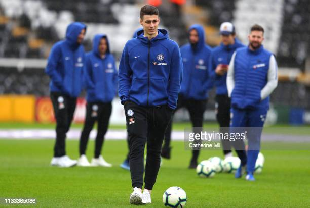 Kepa Arrizabalaga of Chelsea arrives ahead of the Premier League match between Fulham FC and Chelsea FC at Craven Cottage on March 03 2019 in London...