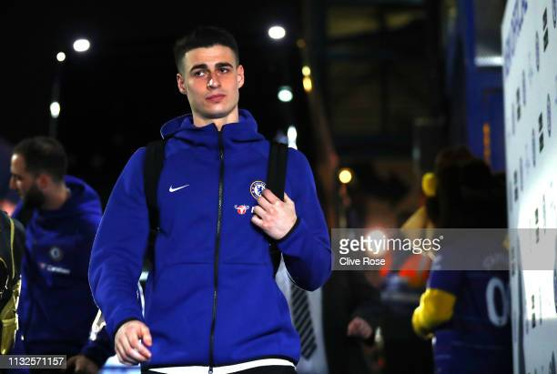 Kepa Arrizabalaga of Chelsea arrives at the stadium prior to the Premier League match between Chelsea FC and Tottenham Hotspur at Stamford Bridge on...