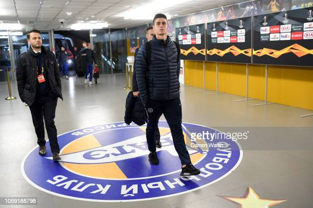 Kepa Arrizabalaga of Chelsea arrives at the stadium prior to the UEFA Europa League Group L match between FC BATE and Chelsea at BorisovArena on...