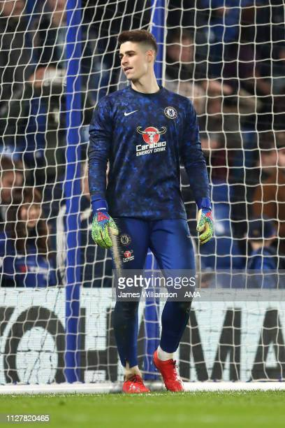 Kepa Arrizabalaga of Chelsea before the Premier League match between Chelsea FC and Tottenham Hotspur at Stamford Bridge on February 27 2019 in...