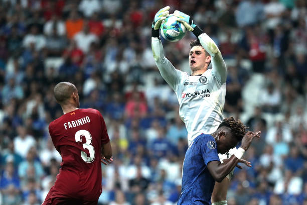 SUPER COUPE EUROPE UEFA 2019 Kepa-arrizabalaga-of-chelsea-catches-the-ball-over-tammy-abraham-of-picture-id1168057988?k=6&m=1168057988&s=612x612&w=0&h=ASGIn58GWNTocN_5W_LeX2Nk53xx8veqH7ERLjO25IM=