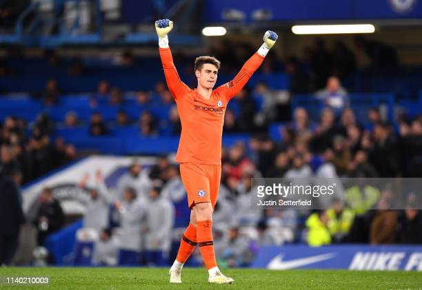 Kepa Arrizabalaga of Chelsea celebrates after Eden Hazard of Chelsea scores his team's second goal during the Premier League match between Chelsea FC...
