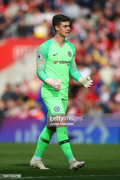 Kepa Arrizabalaga of Chelsea celebrates after his team's second goal during the Premier League match between Southampton FC and Chelsea FC at St...