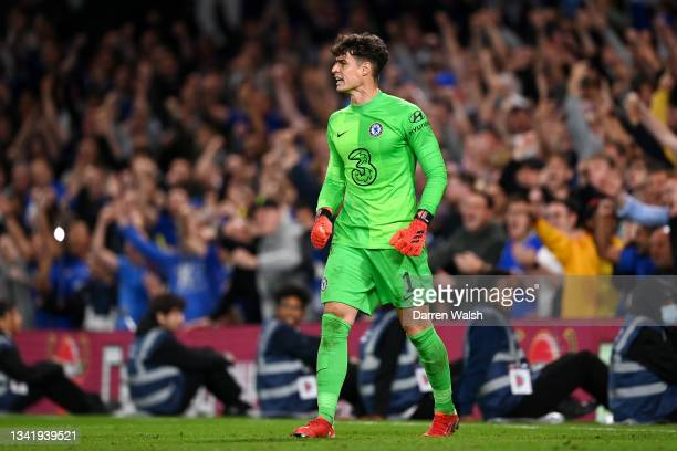 Kepa Arrizabalaga of Chelsea celebrates after making a save in the penalty shoot out during the Carabao Cup Third Round match between Chelsea and...
