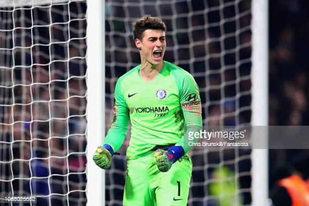 Kepa Arrizabalaga of Chelsea celebrates after saving a penalty in the shootout during the Carabao Cup Semi-Final Second Leg match between Chelsea and...