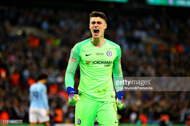 Kepa Arrizabalaga of Chelsea celebrates after saving the penalty of Leroy Sane of Manchester City in the shootout during the Carabao Cup Final...