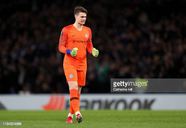Kepa Arrizabalaga of Chelsea celebrates his sides first goal during the UEFA Europa League Round of 16 First Leg match between Chelsea and Dynamo...