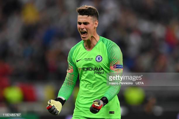 Kepa Arrizabalaga of Chelsea celebrates his sides second goal during the UEFA Europa League Final between Chelsea and Arsenal at Baku Olimpiya...