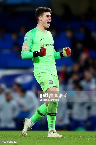 Kepa Arrizabalaga of Chelsea celebrates his team's first goal during the Carabao Cup Quarter Final match between Chelsea and AFC Bournemouth at...