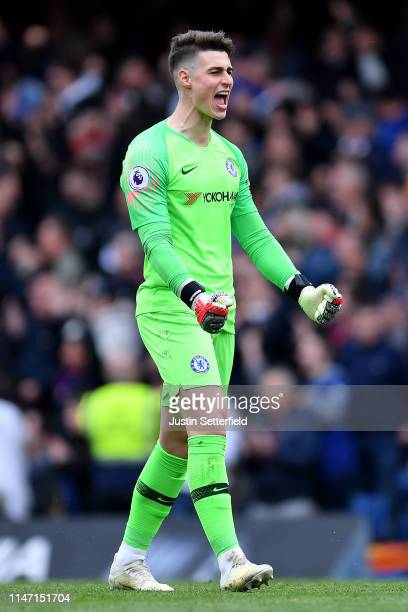 Kepa Arrizabalaga of Chelsea celebrates the 2nd Chelsea goal scored by David Luiz during the Premier League match between Chelsea FC and Watford FC...