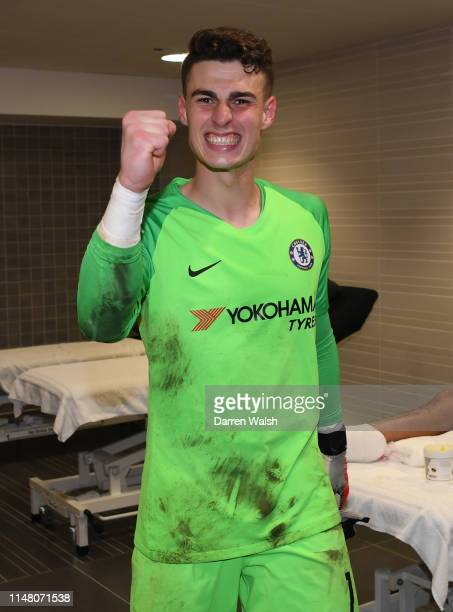Kepa Arrizabalaga of Chelsea celebrates victory after the UEFA Europa League Semi Final Second Leg match between Chelsea and Eintracht Frankfurt at...