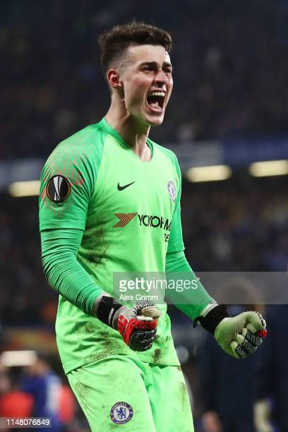 Kepa Arrizabalaga of Chelsea celebrates victory in the shoot out after the UEFA Europa League Semi Final Second Leg match between Chelsea and...