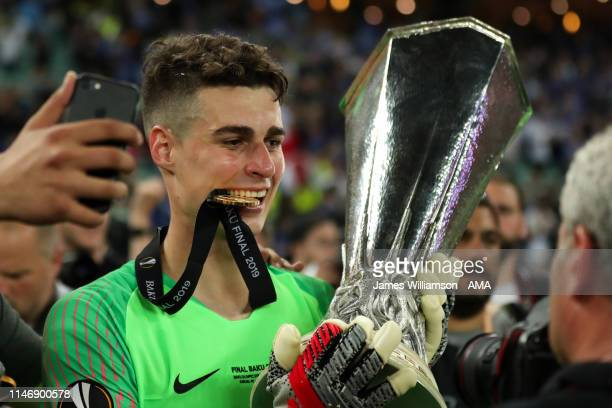 Kepa Arrizabalaga of Chelsea celebrates with his winners medal and the trophy after winning the UEFA Europa League Final between Chelsea and Arsenal...