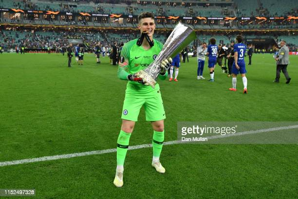 Kepa Arrizabalaga of Chelsea celebrates with the Europa League Trophy following his team's victory in the UEFA Europa League Final between Chelsea...