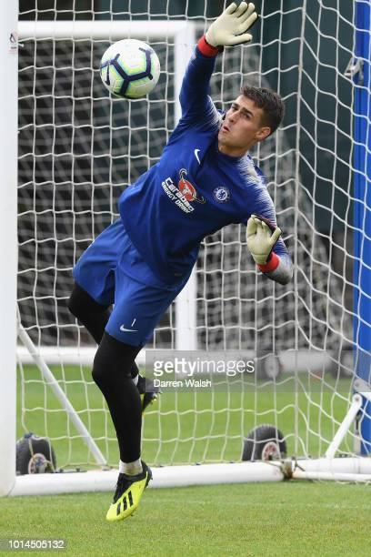 Kepa Arrizabalaga of Chelsea during a training session at Chelsea Training Ground on August 10 2018 in Cobham England