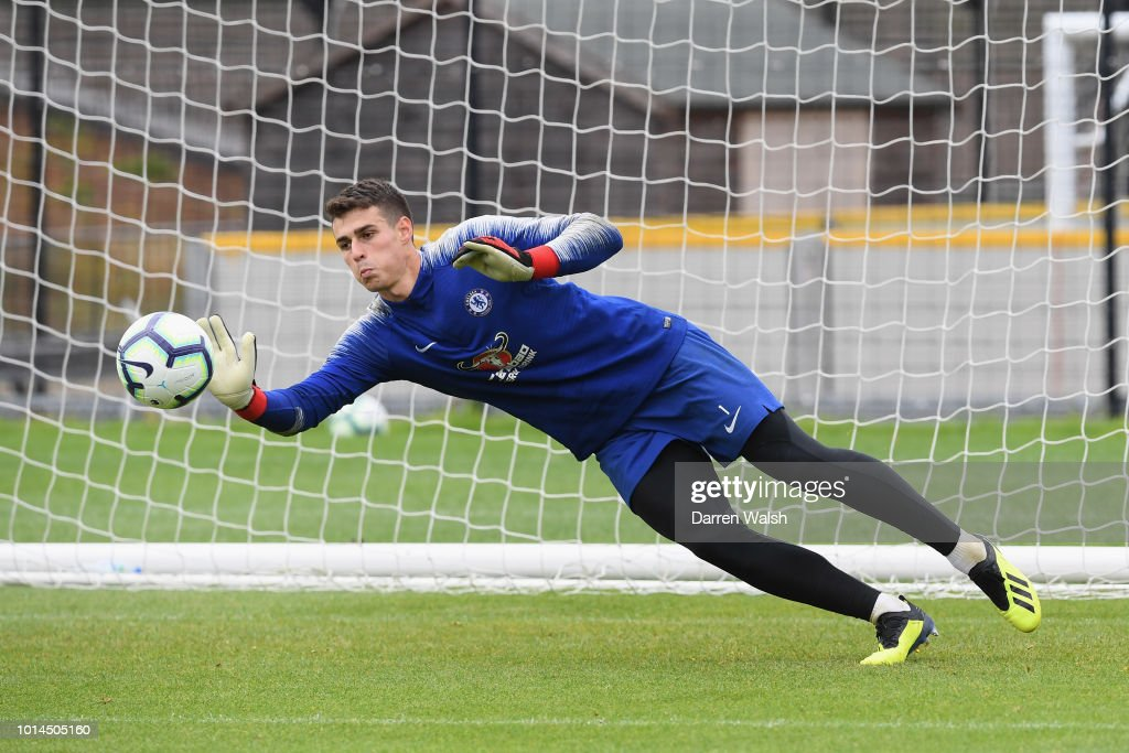 Kepa Arrizabalaga of Chelsea during a training session at Chelsea Training Ground on August 10, 2018 in Cobham, England.