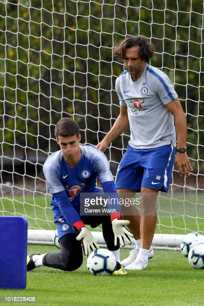 Kepa Arrizabalaga of Chelsea during a training session at Chelsea Training Ground on August 17 2018 in Cobham England