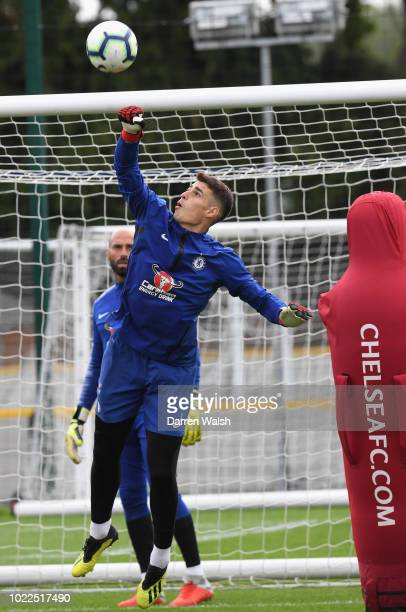 Kepa Arrizabalaga of Chelsea during a training session at Chelsea Training Ground on August 24 2018 in Cobham England