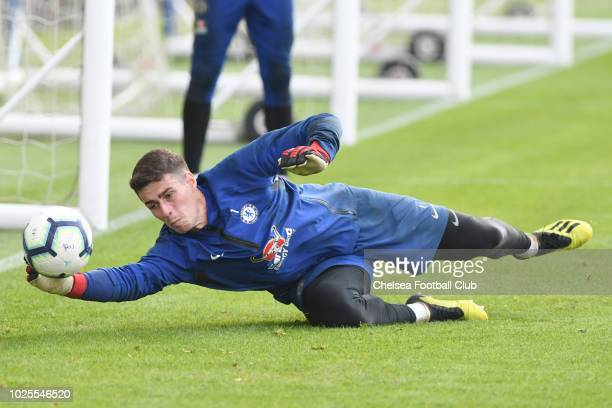 Kepa Arrizabalaga of Chelsea during a training session at Chelsea Training Ground on August 31 2018 in Cobham England