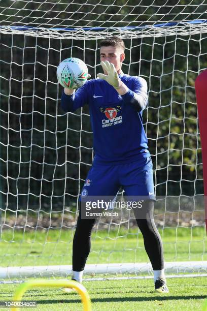 Kepa Arrizabalaga of Chelsea during a training session at Chelsea Training Ground on September 25 2018 in Cobham England