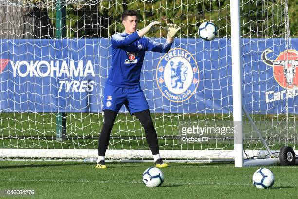 Kepa Arrizabalaga of Chelsea during a training session at Chelsea Training Ground on October 5 2018 in Cobham England