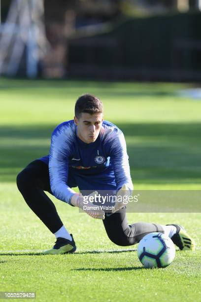 Kepa Arrizabalaga of Chelsea during a training session at Chelsea Training Ground on October 19 2018 in Cobham England