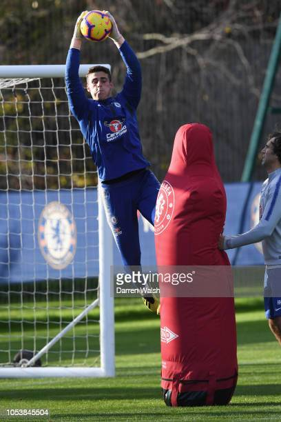 Kepa Arrizabalaga of Chelsea during a training session at Chelsea Training Ground on October 26 2018 in Cobham England
