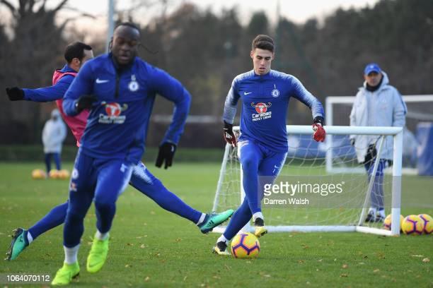 Kepa Arrizabalaga of Chelsea during a training session at Chelsea Training Ground on November 21 2018 in Cobham England