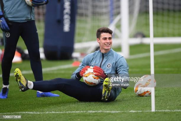 Kepa Arrizabalaga of Chelsea during a training session at Chelsea Training Ground on November 28 2018 in Cobham England