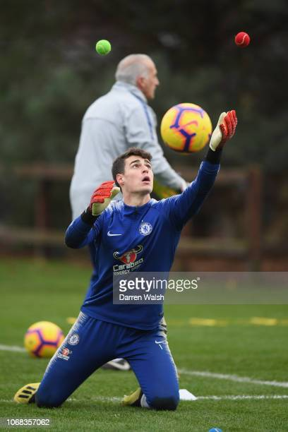Kepa Arrizabalaga of Chelsea during a training session at Chelsea Training Ground on December 4 2018 in Cobham England