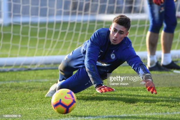 Kepa Arrizabalaga of Chelsea during a training session at Chelsea Training Ground on December 7 2018 in Cobham England